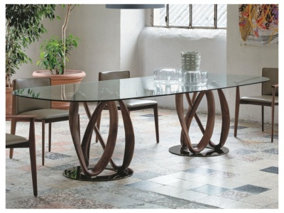 Infinity Oval Glass Dining Table
