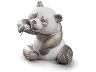 A Cheerful Panda Figurine. Silver Lustre