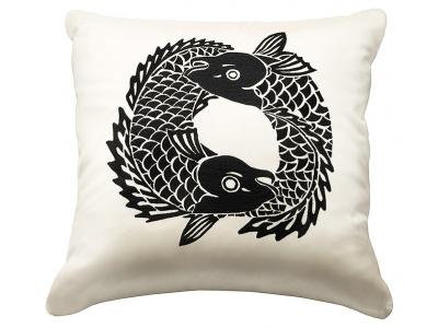 Koi Circle embroidered square cushion
