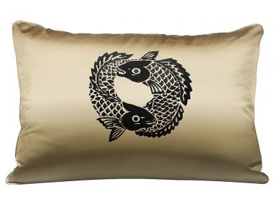 Koi Circle embroidered rectangular cushion