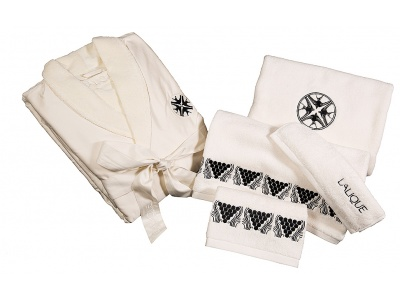 Hirondelles embroidered bathrobe