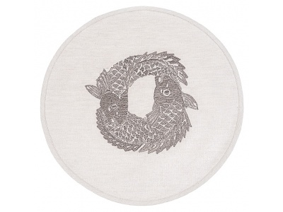Koi Circle embroidered placemat