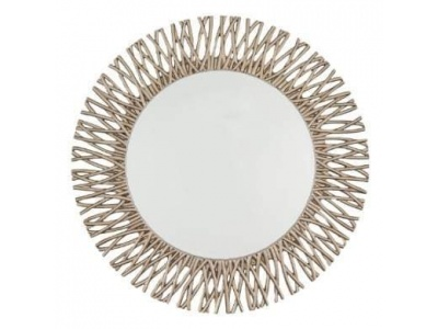 Adel Round Mirror Champagne Silver Leaf