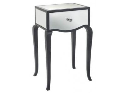 Carn gloss black mirror side table